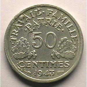 50 Centimes  Bazor   1943    TTB corrosion