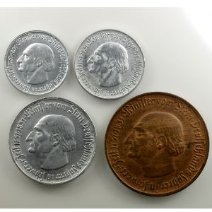 50 Pf, 1, 5 et 10 Mark   1921   Minister vom Stein    TTB+/SUP