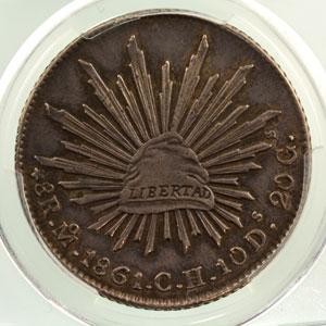 8 Réales   1861   Mo (Mexico)  CH    PCGS-AU55    TTB+/SUP