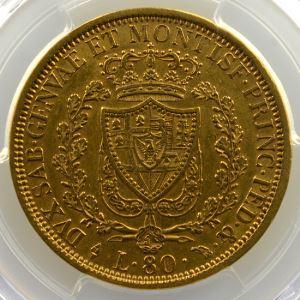 80 Lire   Charles-Félix (1821-1831)   1827 L  (Torino)    PCGS-AU55    TTB+/SUP
