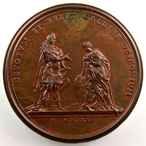 Ferdinand de SAINT-URBAIN    L'avènement du duc d'Orléans à la régence du Royaume   bronze   1715   44mm    SUP/FDC