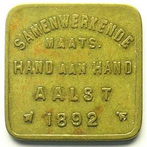 Aalst   Samenwerkende Maats. Hand aan Hand   1892   Lt, 4a   20mm    TTB