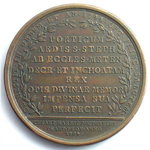 Achèvement du portique de la cathédrale de Metz   Louis XV   bronze   41mm   1764    TTB