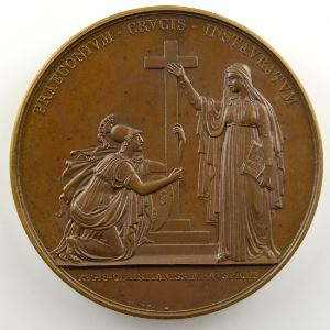 ANDRIEU/BRUN   Bronze   50mm   (1815)   La Religion catholique redevient Religion d'Etat    SUP