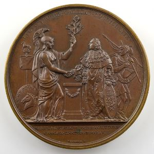 Andrieu/Gayrard   Bronze   51mm   1818   Retrait des troupes alliées 9 octobre 1818    SUP/FDC