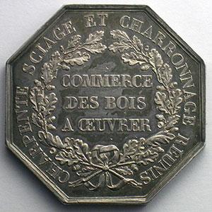 Approvisionnement de Paris - Bois à œuvrer   1840   jeton octogonal en argent    SUP