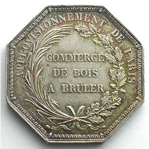 Approvisionnement de Paris - Bois à brûler   jeton octogonal en argent    TTB+/SUP