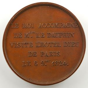 ARMAND   Visite de l'Hôtel Dieu de Paris   6 septembre 1824   bronze 41,5 mm    SUP/FDC