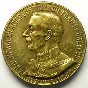 BAFFIER   Au Général Mercier   1906   bronze   50mm    TTB+/SUP