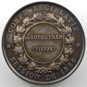 Barre   Médaille en argent  51mm   Napoléon III   Corps législatif, session de 1866    FDC