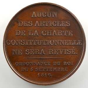 Barre   Médaille en bronze  41mm   1816    SUP/FDC
