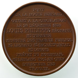 Barre   Médaille en bronze  Louis-Philippe I   Inauguration du Pont de la Roche Bernard (Morbihan), le 26 décembre 1839   51mm    SUP/FDC