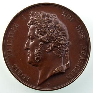 Barre   Médaille en bronze  Louis-Philippe I   Inauguration du Pont de la Roche Bernard (Morbihan), le 26 décembre 1839   51mm    TTB+/SUP