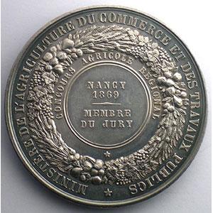 BARRE   Nancy 1869 - argent 51mm    SUP/FDC