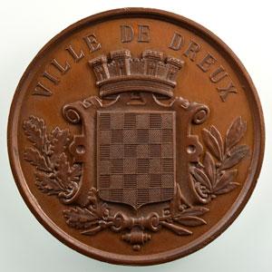 Blondelet   Ville de Dreux   Médaille en cuivre  50mm    SUP/FDC