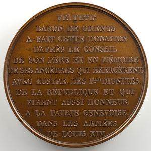 BOVY   Donation de 400000 Francs en immeubles à la Ville de Genève le 7 mai 1847   Médaille en bronze   60mm    SUP/FDC