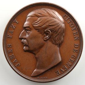 Bovy   Médaille en bronze  41mm   James Fazy, citoyen de Genève    SUP