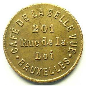 Bruxelles   Café de la Belle Vue   20 c   Cu, R   23,5mm    SUP