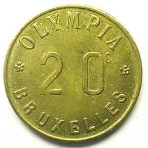 Bruxelles   Olympia   20 c   Lt, R   23mm    SUP