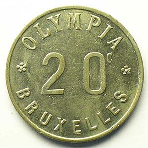 Bruxelles   Olympia   20 c   Ma, R   23mm    TTB