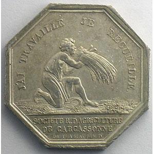 Carcassonne   jeton octogonal en argent   Charles X    SUP
