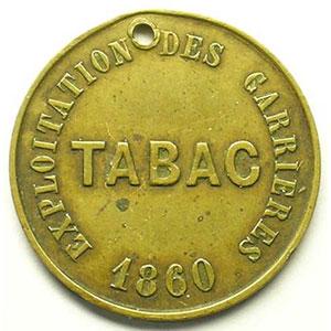 Carrières de marbre de Belvoye   TABAC   1860   Lt,R, 24mm    TTB percé