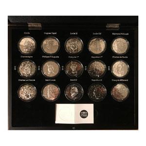 Coffret de 15 pièces de 10 €   Les grands souverains et chefs d'états de la France   2011-2015   37mm   22,2 g - Ag 900 mill.    BE