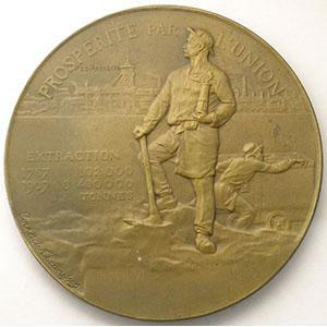 Compagnie des mines d'Anzin   cent-cinquantenaire  1757-1907   médaille en bronze  60mm    SUP