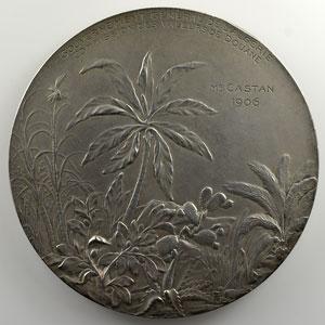 Coudray Lucien   Médaille en argent  68mm   Gouvernement Général de l'Algérie   Commission des valeurs de douane   1906    SUP