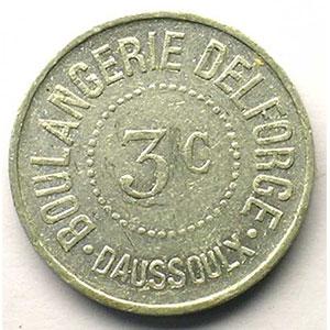 Daussoulx   Boulangrie Delforge   3 c   Alu, R  uniface   20,5mm    TTB