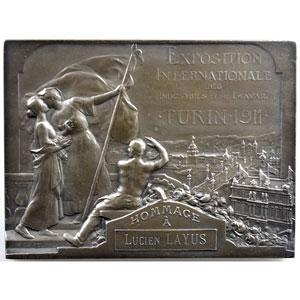 Dautel Pierre-Victor   Exposition Internationale des Industries et du Travail   Turin 1911   plaque en argent   55x72mm    SUP