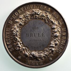 DE LONGUEIL   Société d'Horticulture de la Moselle - Metz   1862   argent   51mm    TTB+