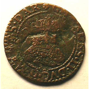 Double Tournois   Ardennes, Charleville   Charles II de Gonzague (1637-1665)   1641   double frappe    TB