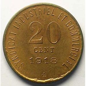 Elie 10.4   20 c 1918   Cu,R   26,5 mm   (Essai)    FDC