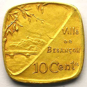 Elie 10.6   10 c   1917  (Essai)  Lt doré, 4a  22mm    SUP