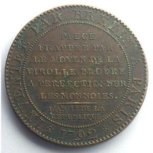 Essai de Brézin, module au faisceau   bronze   38mm   1792    TTB+/SUP