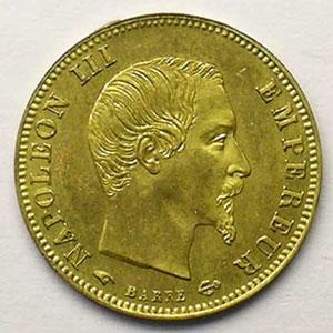Essai uniface d'avers en bronze doré   1855    FDC