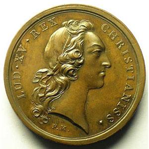 F. Marteau   Convalescence du Roi Louis XV à Metz   médaille en bronze   41mm   août 1744    SUP