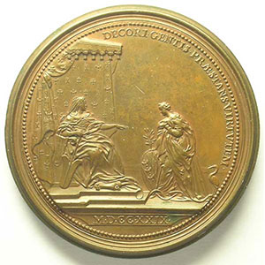 Ferdinand de SAINT-URBAIN   Hommage de la Lorraine 1729   bronze  57 mm    TTB+/SUP
