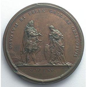 Ferdinand de SAINT-URBAIN    L'avènement du duc d'Orléans à la régence du Royaume   bronze   1715   44mm    SUP