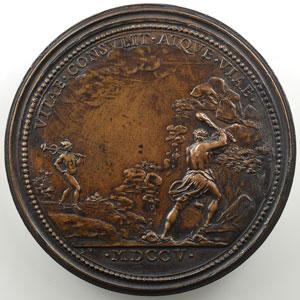 Ferdinand de SAINT-URBAIN   Le comblement d'une vallée profonde et la sécurité rendue aux voyageurs de Nancy à Toul   bronze   57mm   1705    TTB+/SUP