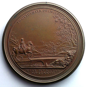 Ferdinand de SAINT-URBAIN   Reconstruction des Ponts   1727   bronze   63mm    TTB+/SUP percée