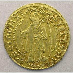 Florin d'or (XV°s.)   variété avec 2 annelets sous le Saint-Etienne    TTB