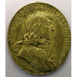 Fonte ovale attribuée à Domenge Crocx (50x43 mm)   bronze doré   trace de bélière enlevée    TB+/TTB