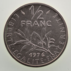 G.429P   1/2 Franc   1976 argent    SUP