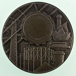 G. Simon   Usine d'électricité de Metz, Régie municipale   Médaille en argent 68mm   1959    FDC