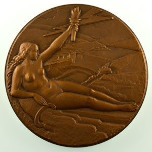 G. Simon   Usine d'électricité de Metz, Régie municipale   Médaille en bronze 68mm   1956    SUP/FDC