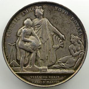 Gayrard/Desboeufs   Argent   41mm   (1821-1822)   Début des travaux de creusement du canal Saint Martin à Paris    TTB+