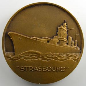 Georges Guiraud   Médaille en bronze 50mm   (Navire le) Strasbourg    SUP