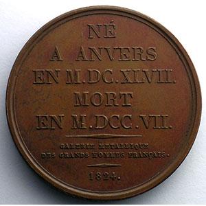 Gérard Edelinck  (Anvers 1647 - Paris 1707)   Médaille en bronze   41mm   1824    SUP/FDC